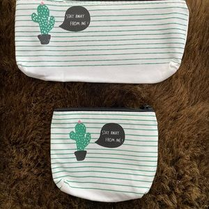 NEW! Stay Away From Me Cactus Zippered Pouch Duo
